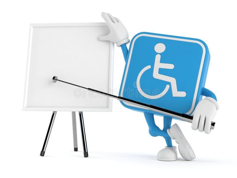 Handikappat tecken med tom whiteboard stock illustrationer