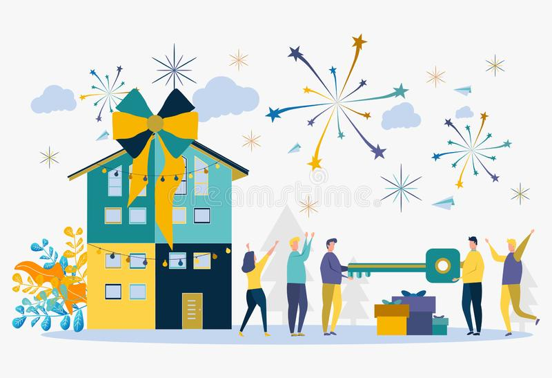 Handing the keys to the apartment, house. Holiday, happy day, good luck. Metaphor of home buying.  vector illustration