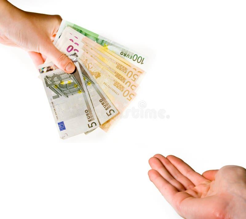 Handing over euro banknotes royalty free stock photos