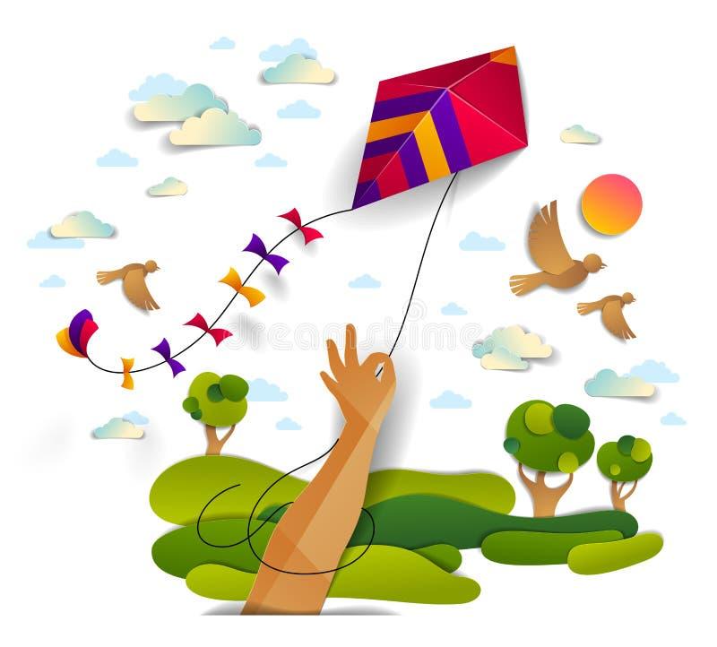 Handinnehavdrake över fåglar för molnig himmel flyg och sol, ängar och sceniskt emotionella naturlandskap för träd, frihet och ea vektor illustrationer