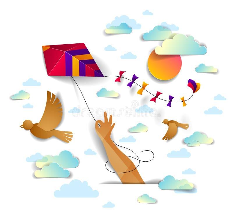 Handinnehavdraken ?ver f?glar flyg f?r molnig himmel och det emotionella begreppet f?r sol, f?r frihet och f?r easiness, modernt  stock illustrationer