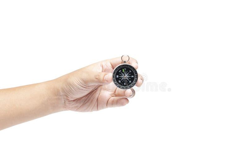 Handinnehavkompass som isoleras p? vit bakgrund arkivfoton