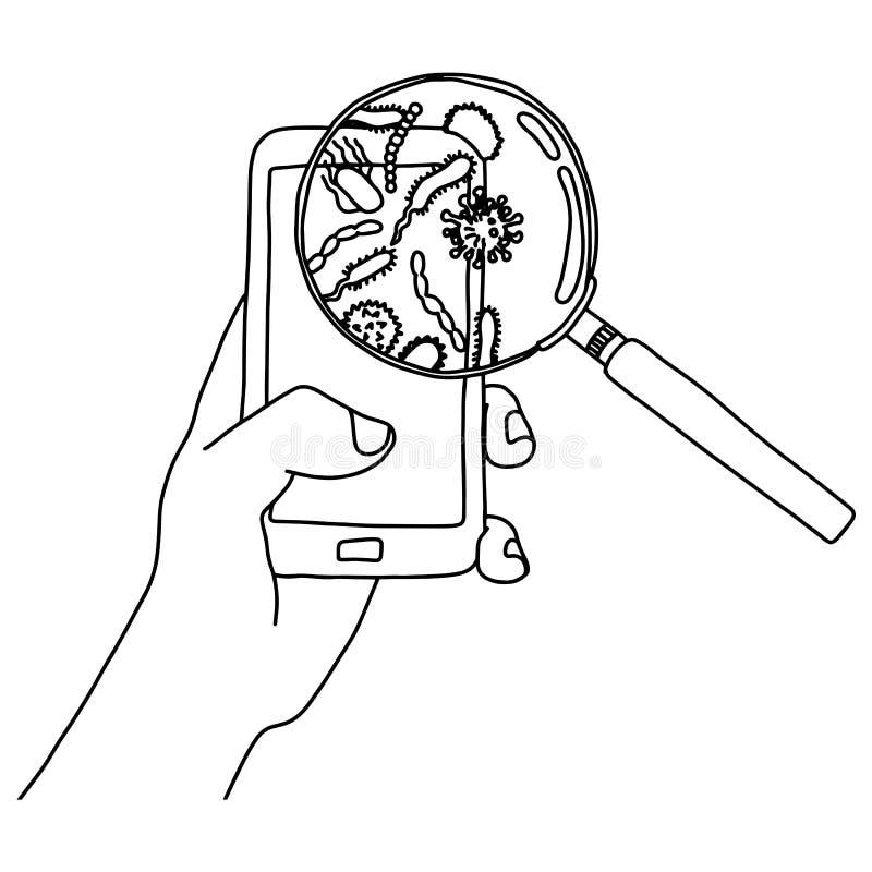 Handinnehavmobiltelefonen med bakterier i förstoringsglasvektorillustration skissar klotterhanden som dras med svarta linjer som  royaltyfri illustrationer