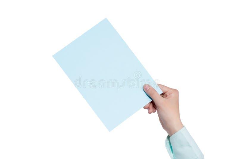 Handinnehavpapper som isoleras på vit royaltyfri fotografi