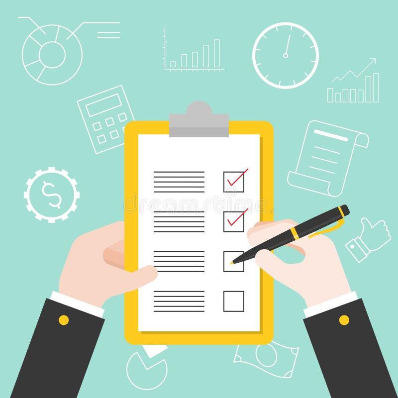 Handinnehavpenna och skrivplatta med plankontrollistan stock illustrationer