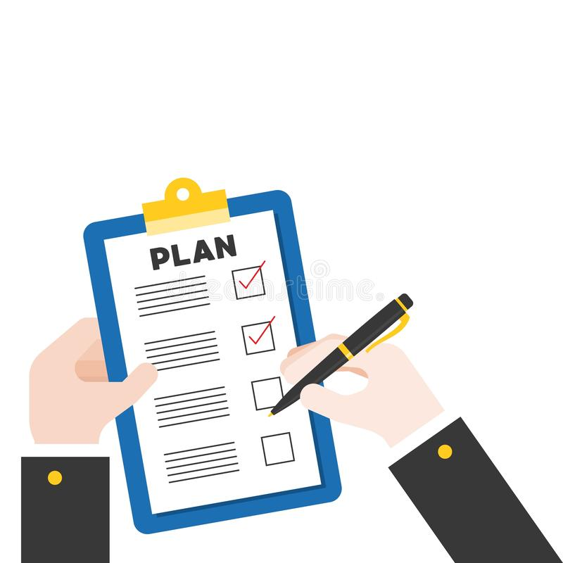 Handinnehavpenna och skrivplatta med plankontrollistan, plan design vektor illustrationer