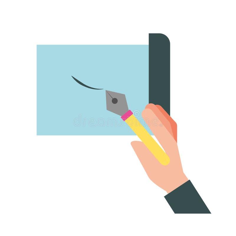 Handinnehavreservoarpenna som dras på arket stock illustrationer