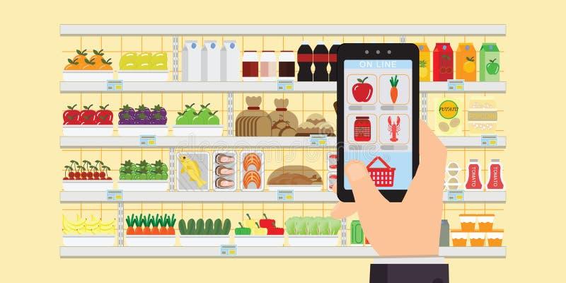 Handinnehavsmartphone med att shoppa appen, beställning för livsmedelsbutikleveransinternet, online-illustration för supermarketb stock illustrationer