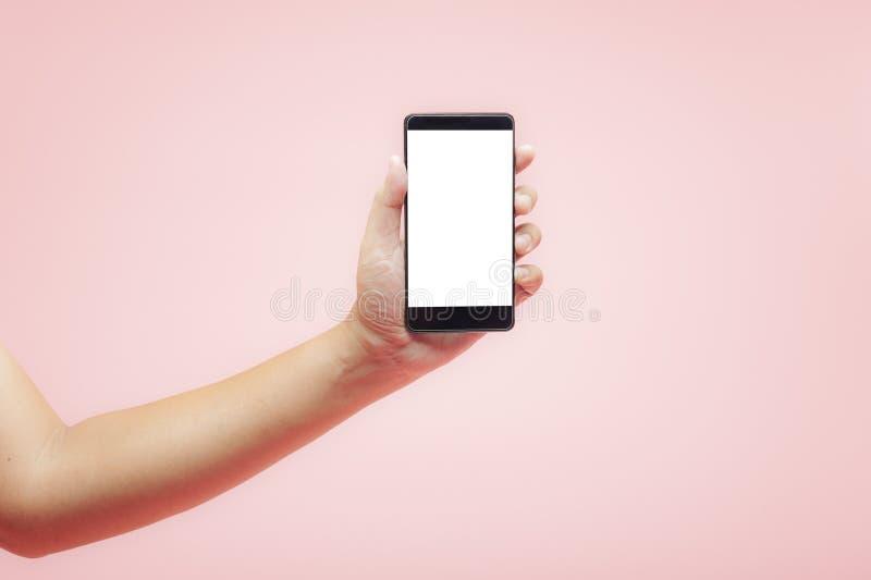 Handinnehavsmartphone med den vita tomma skärmen på rosa bakgrund royaltyfri foto