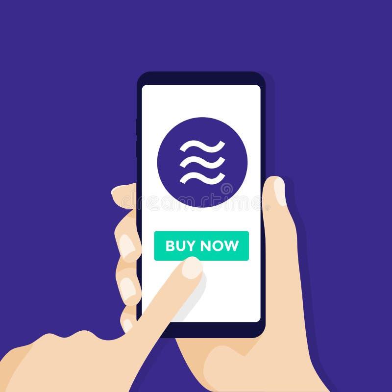 Handinnehavsmartphone med Vågmyntvaluta Online-Crypto valutaaffärsidé Faktiska elektroniska pengar stock illustrationer