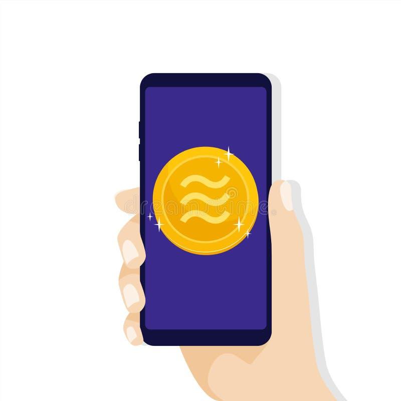 Handinnehavsmartphone med Vågmyntvaluta Online-Crypto valutaaffärsidé Faktiska elektroniska pengar vektor illustrationer