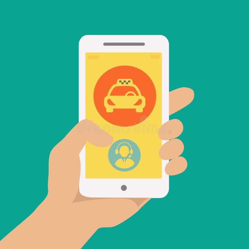 Handinnehavtelefon med taxihyraservice vektor illustrationer