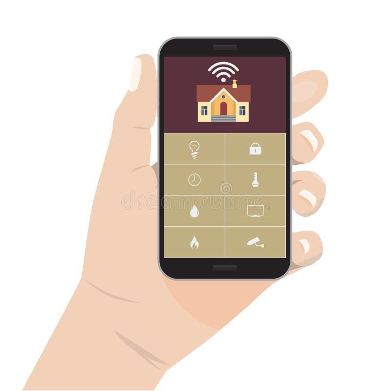 Handinnehavtelefon Modernt vektorillustrationbegrepp av det smarta huset stock illustrationer
