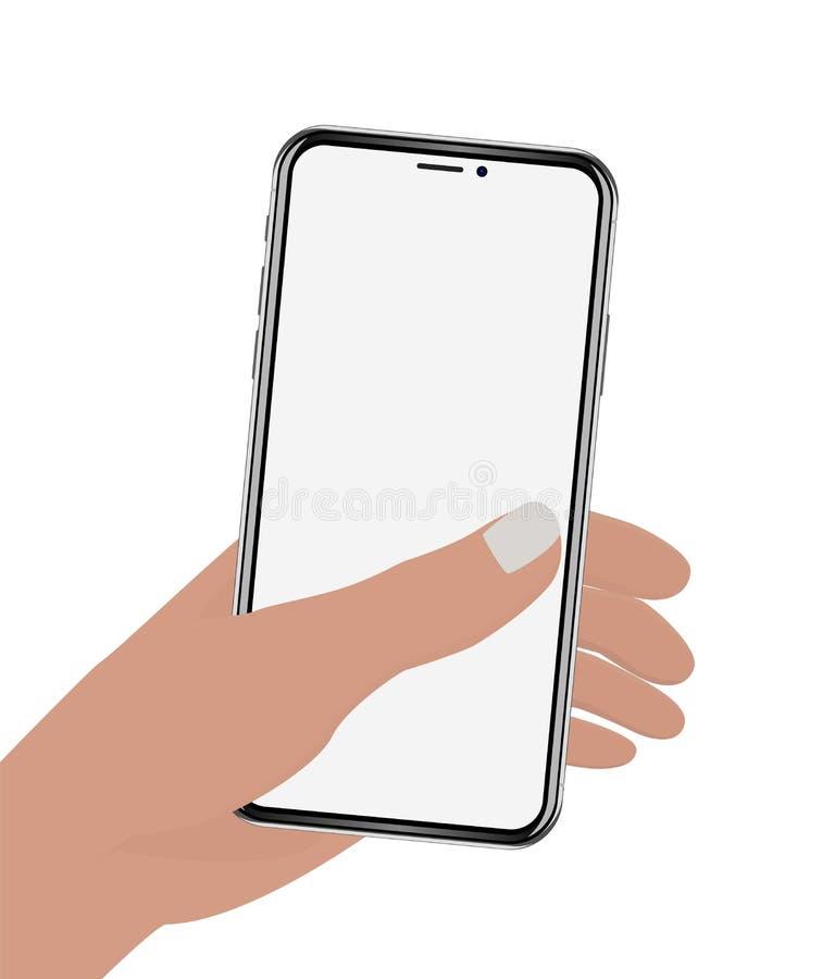 Handinnehavtelefon på den vita skärmen royaltyfri illustrationer