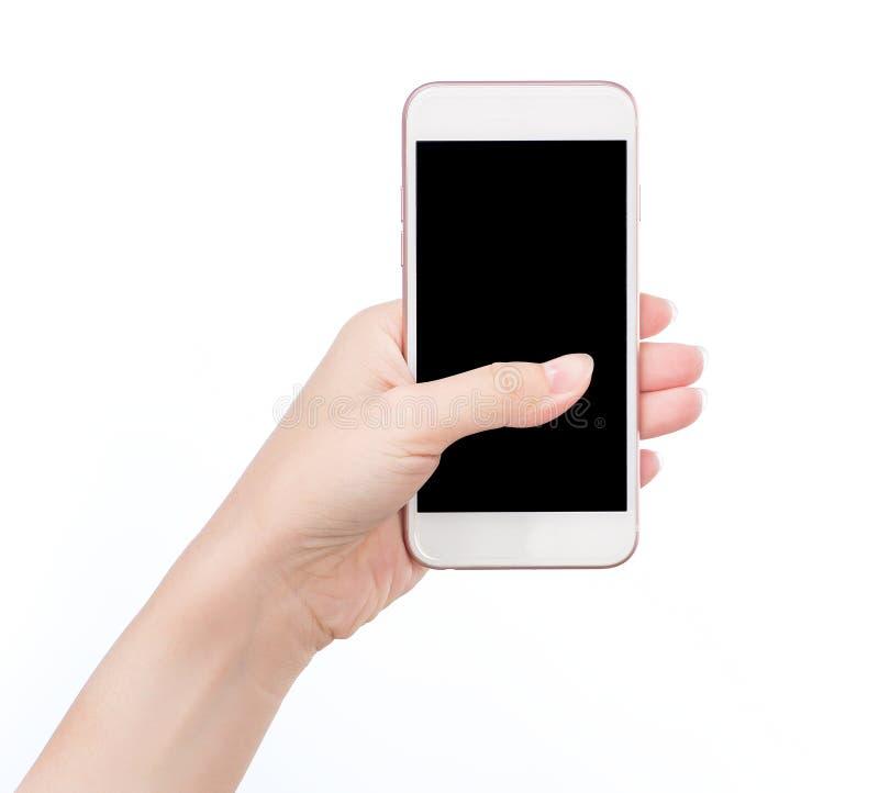 Handinnehavtelefon som inom isoleras på den vita snabba banan arkivfoto
