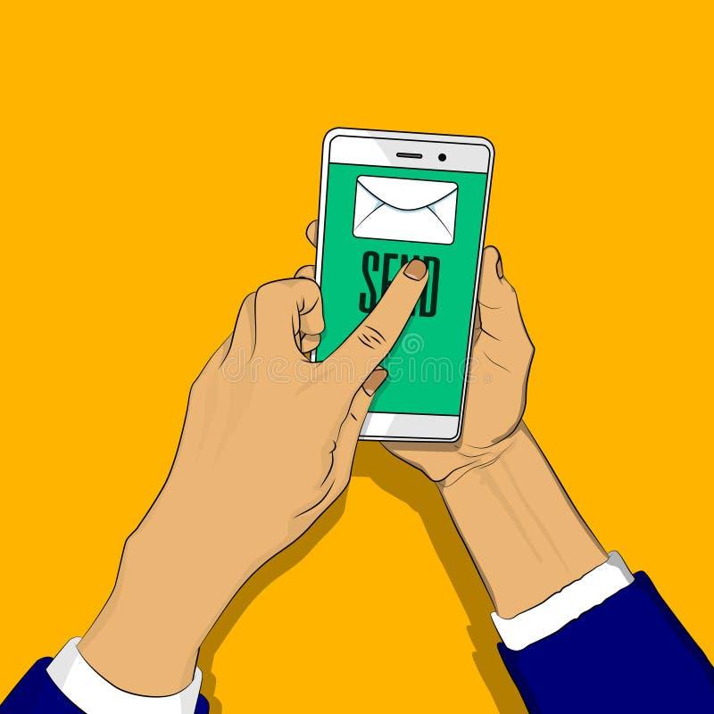 Handinnehavtelefonen med bokstaven och att överföra knappen på skärmen, ett finger trycker på överför knappen stock illustrationer