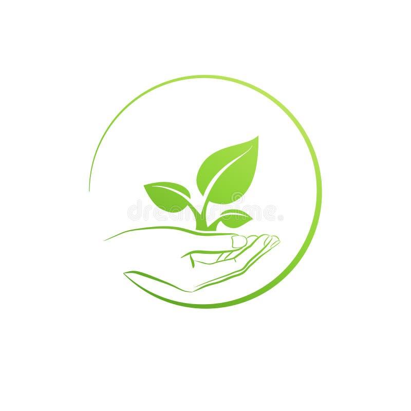 Handinnehavväxt, vektor för logotillväxtbegrepp royaltyfri illustrationer