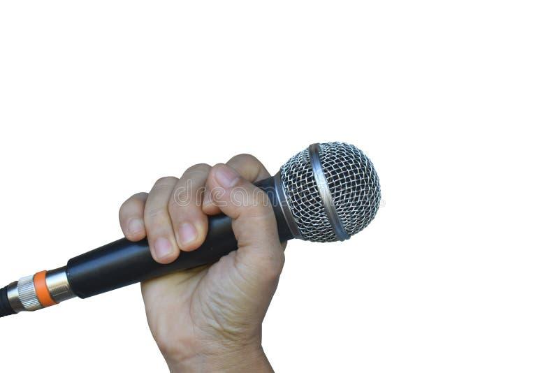 Handje met een microfoon geïsoleerd op witte achtergrond stock fotografie