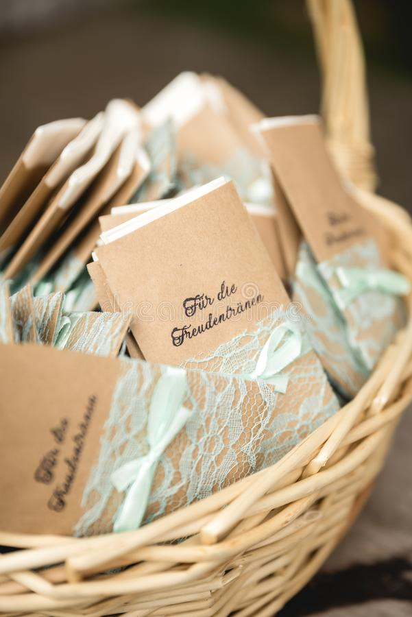 Handkerchiefs for wedding ceremony. In a basket royalty free stock photo