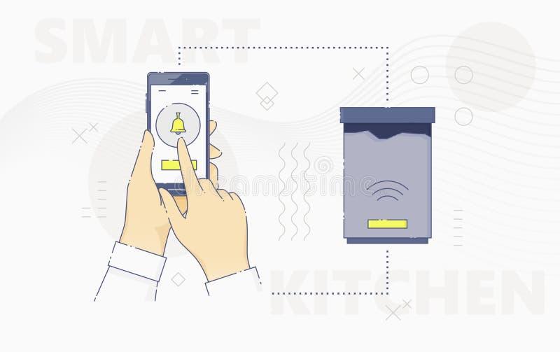 Handkontrollebehälter mit Smartphone vektor abbildung