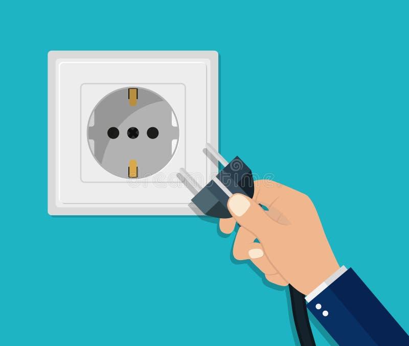 Handkoppla frånkoppling av elektrisk kontakt Strömuttag som du kan koppla ur Strömkabel av Platta säkerhetskoncept Anslut till in royaltyfri illustrationer