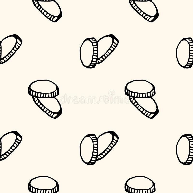 Handkritzeln gezogene nahtlose Mustermünzen Skizzenartikone Eingelassenes Genua, Italien Getrennt auf wei?em Hintergrund Flaches  stock abbildung