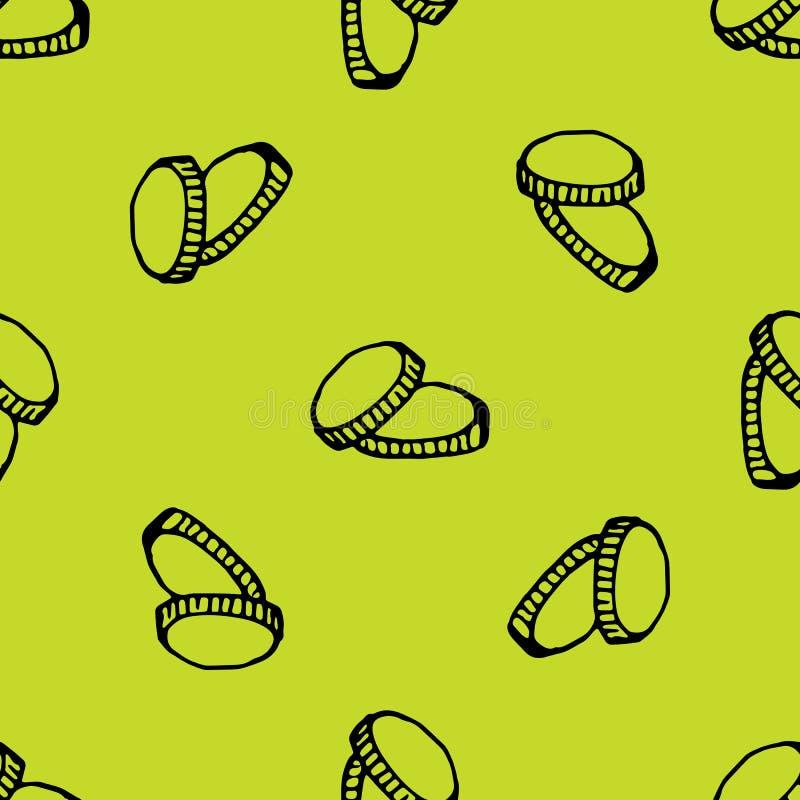 Handkritzeln gezogene nahtlose Mustermünzen Skizzenartikone Eingelassenes Genua, Italien Getrennt auf wei?em Hintergrund Flaches  vektor abbildung