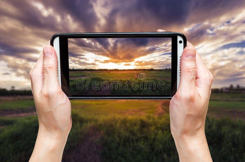 Handkvinna som tar fotoet på solnedgången arkivfoto