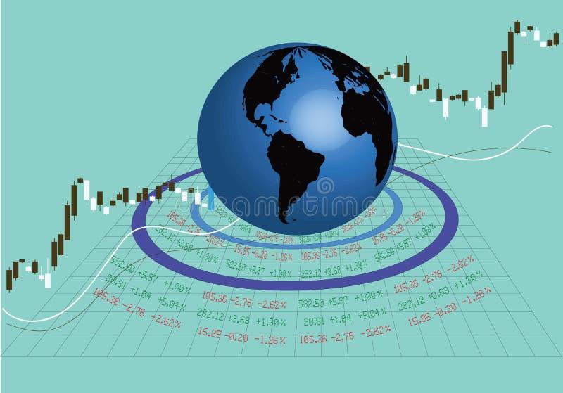 Handla den globala aktiemarknaden vektor illustrationer