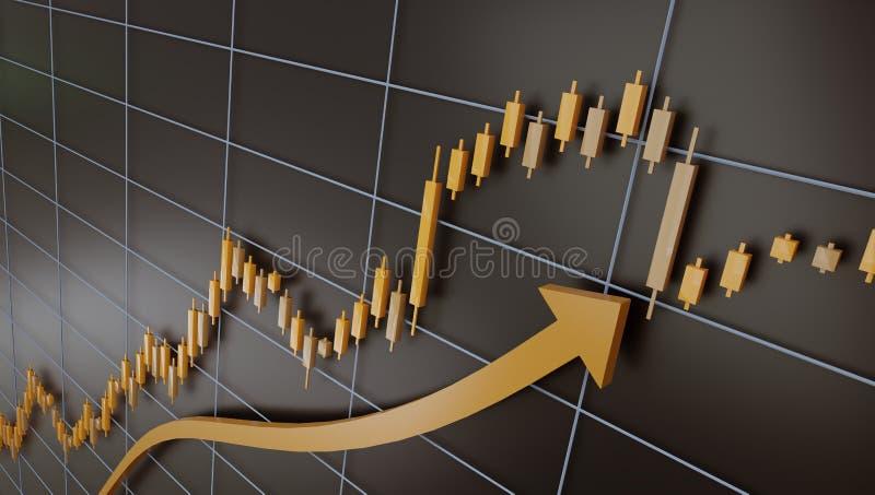 Handla diagrammet och ljusstaken av guld, illustration 3d vektor illustrationer