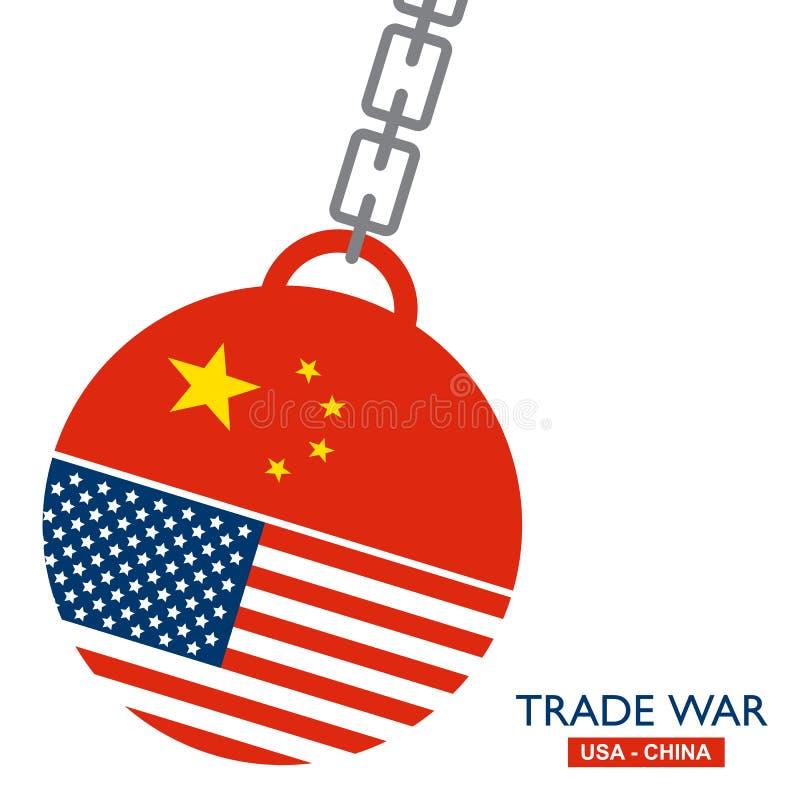 Handla kriget, USA kontra Kina Internationellt globalt utbyte för Amerika-Kina tariffaffär stock illustrationer