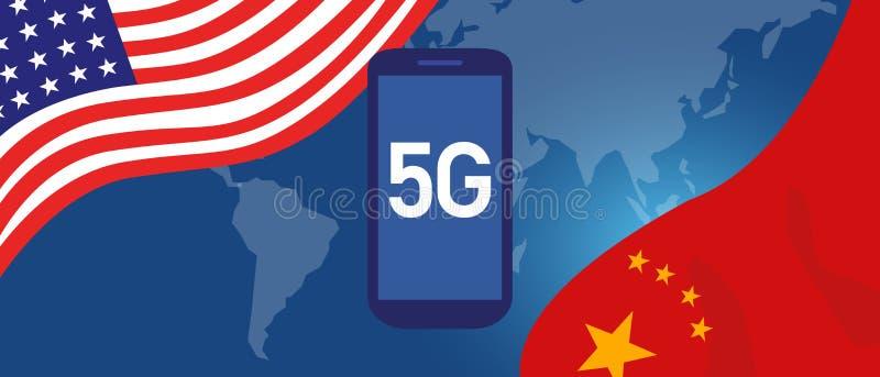 Handla krigkonflikten runt om teknologi för nätverket som 5G illustreras med översikten och flaggan mellan USA och Kina royaltyfri illustrationer