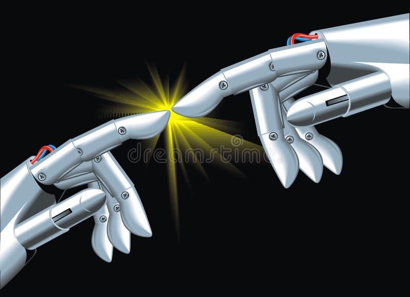 Handlag av robotar stock illustrationer