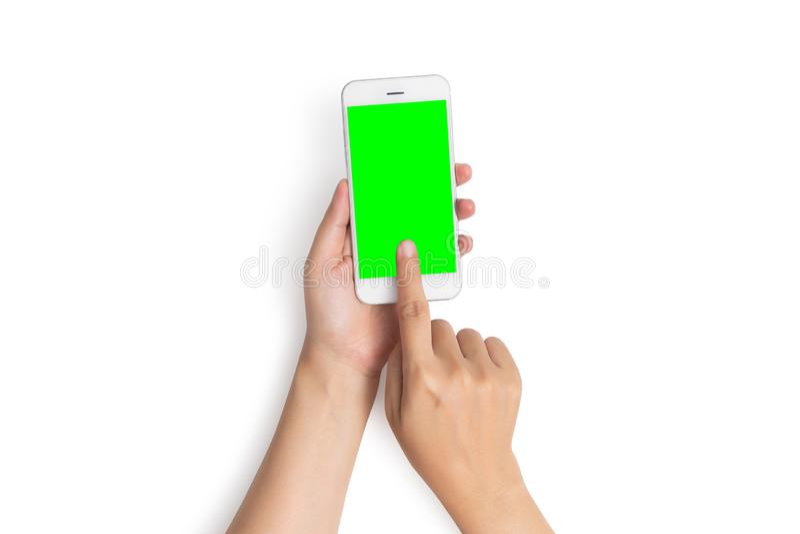 Handlag f?r finger f?r kvinnahandbruk p? mobiltelefonknappen med den tomma gr?na sk?rmen fr?n den b?sta sikten som isoleras p? vi royaltyfri bild