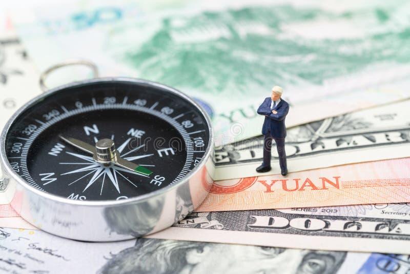 Handlar den ekonomiska riktningen för USA- och Kina finans, det krig-, import- och exportavtalet och överenskommelsebegreppet, ko royaltyfri fotografi