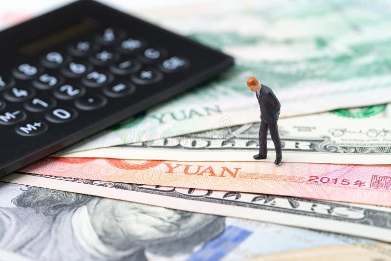 Handlar den ekonomiska riktningen för USA- och Kina finans, det krig-, import- och exportavtalet och överenskommelsebegreppet, rä royaltyfria foton