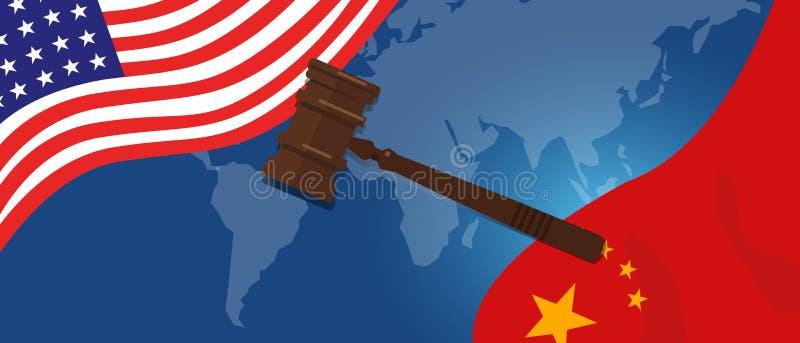 Handlar det lagliga fallet för lag spänning eller handelkrig mellan USA och Kina, finansiella begreppsflaggor av USA och Kina med royaltyfri illustrationer