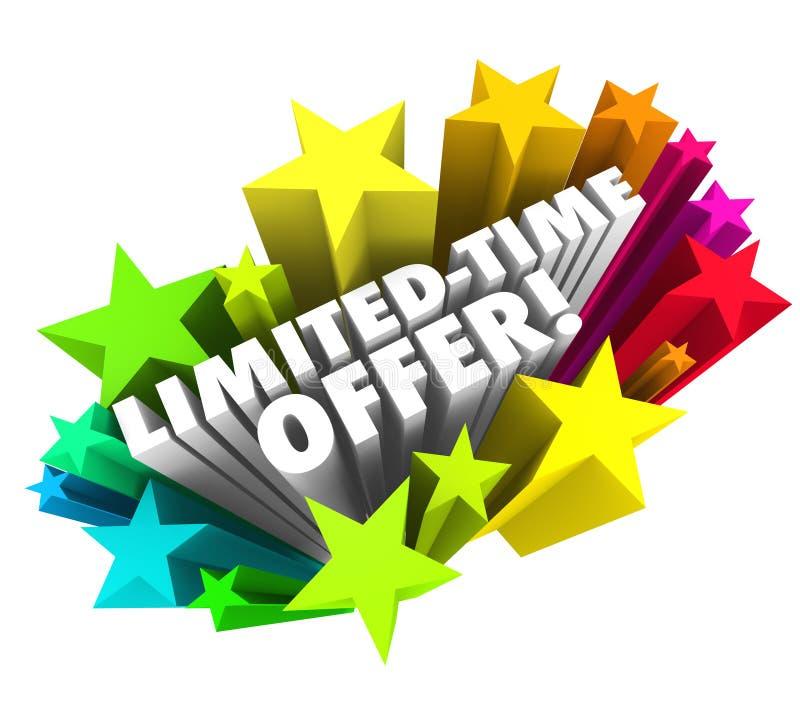 Handlar speciala besparingar för inskränkta ord för Tid erbjudandestjärnor 3d ändelse så stock illustrationer