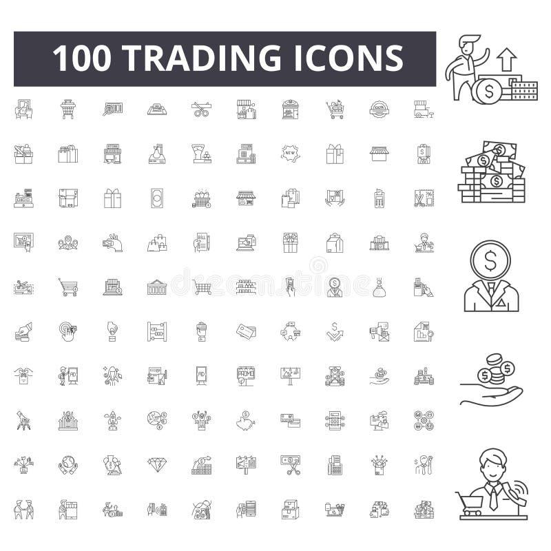 Handlarskie kreskowe ikony, znaki, wektoru set, kontur ilustracji pojęcie obrazy stock