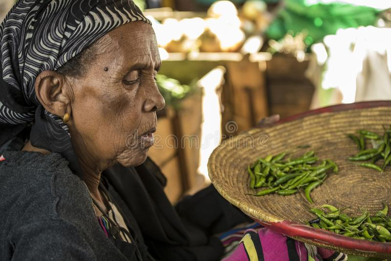 Handlarz w antycznym mieście Harar obrazy stock