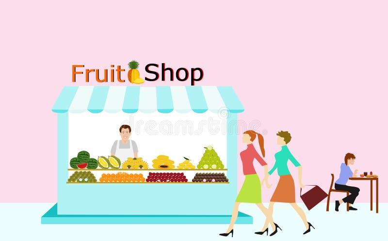 Handlarzi sprzedaje owoc stoją w owoc sklepie Tam są ludzie chodzi royalty ilustracja