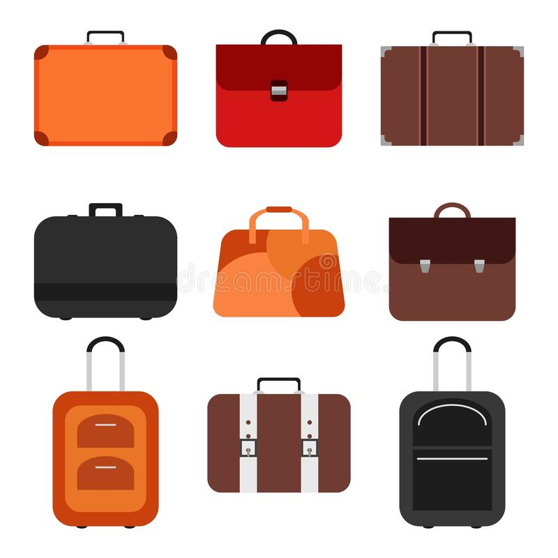 Handle bags and travel suitcases in flat style. Set of colored luggage and suitcase, baggage and bag for trip and royalty free illustration