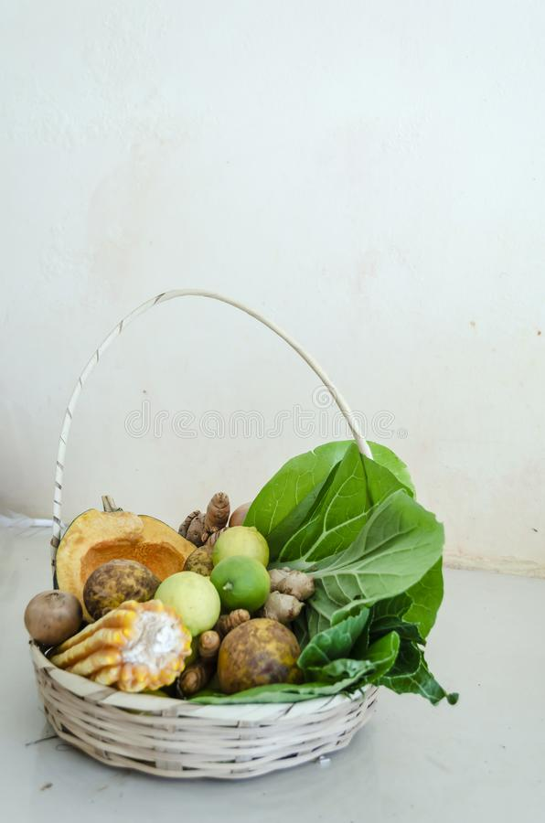 Basket Of Fruits, Vegetables, And Grains stock photo