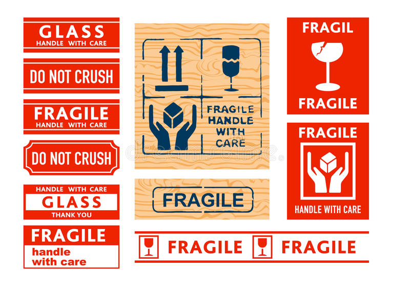 Handle with care stickers vector illustration