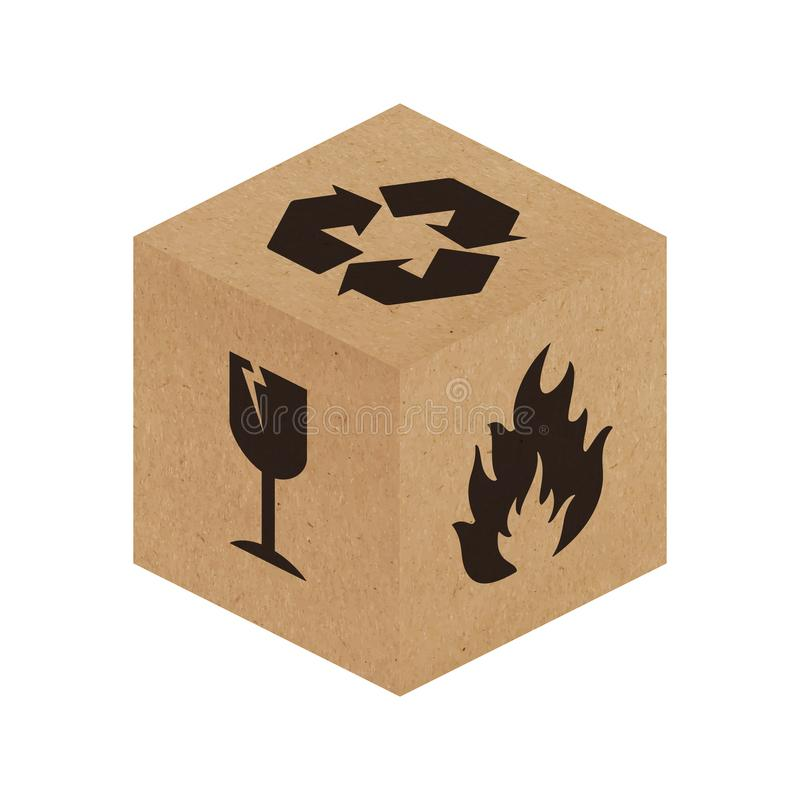 Handle with Care vector packaging symbols on cardboard box vector illustration