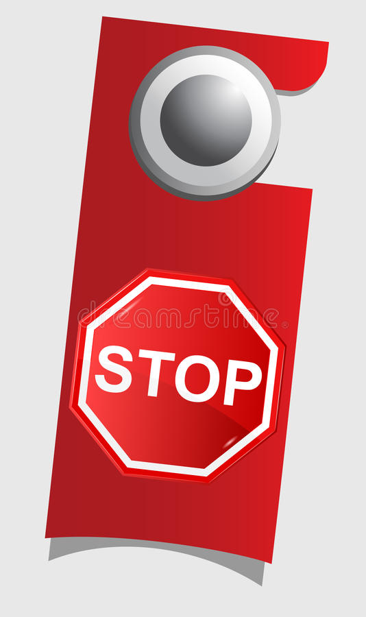 Handle Door With Stop Sign Stock Photography