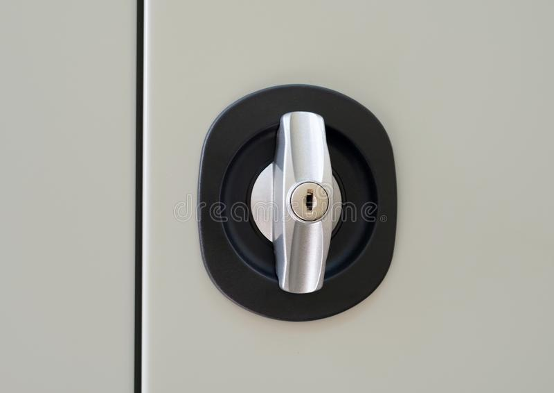 Handle lock of metal locker stock photos