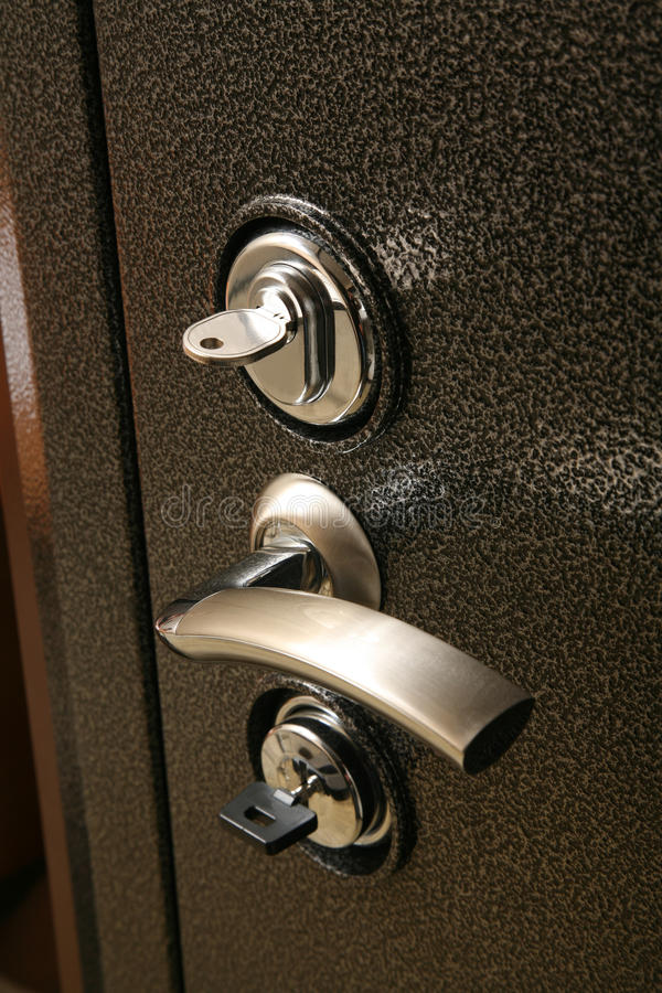 handle on the metal safe door royalty free stock image