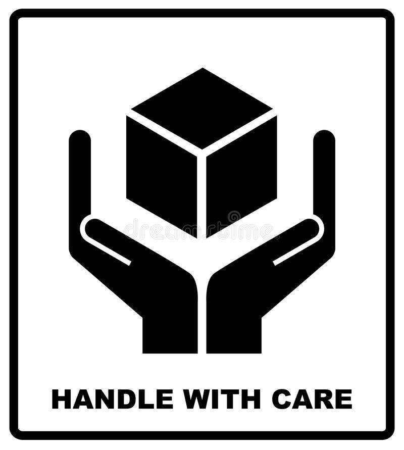 Free Handle With Care Sign Isolated On White Background. Vector Illustration. Stock Images - 84610584