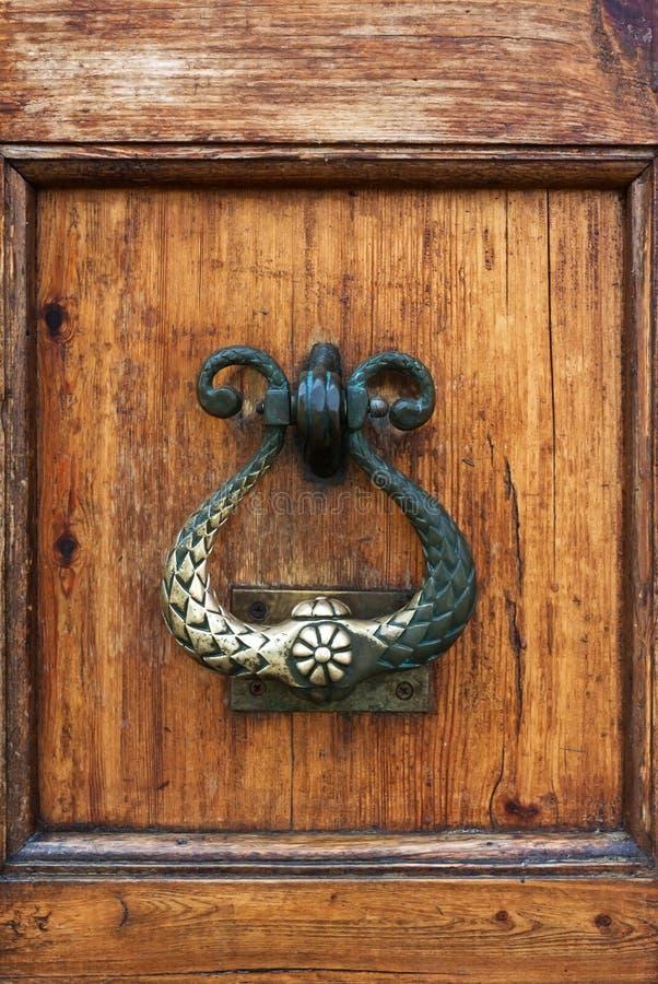 Handle Of A Wooden Door Stock Image